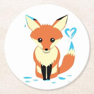 Porta-copo De Papel Redondo Fox que pinta a porta copos azul do cartão do