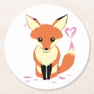Porta-copo De Papel Redondo Fox que pinta a porta copos cor-de-rosa do cartão