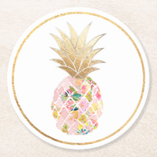 Porta-copo De Papel Redondo Fundo de PixDezines Aloha Pineapples/DIY