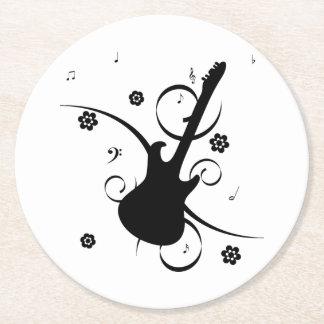 Porta-copo De Papel Redondo Guitarra elétrica preta com teste padrão floral