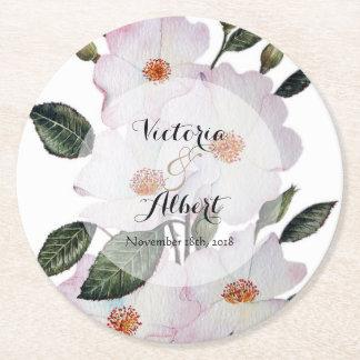Porta-copo De Papel Redondo Ilustração botânica dos rosas brancos