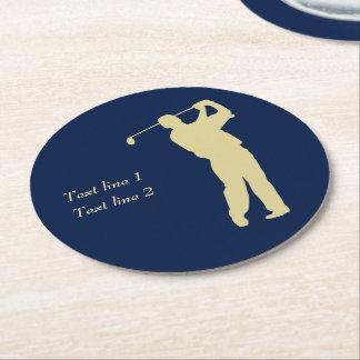 Porta-copo De Papel Redondo Jogador de golfe da silhueta do ouro no azul