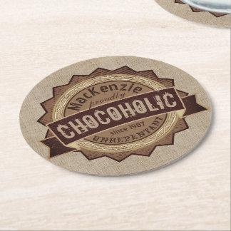 Porta-copo De Papel Redondo Logotipo de Brown do crachá do Grunge do amante do