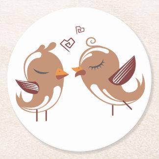 Porta-copo De Papel Redondo Lovebirds de Brown que Wedding o amor