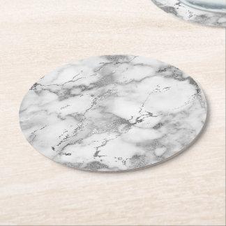 Porta-copo De Papel Redondo luz - pedra de mármore cinzenta