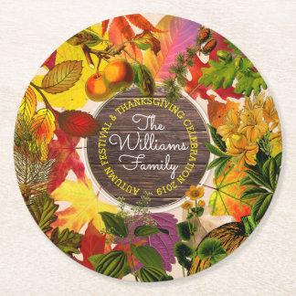 Porta-copo De Papel Redondo Madeira do vintage da colagem das folhas de outono