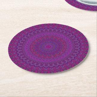Porta-copo De Papel Redondo Mandala roxa da flor