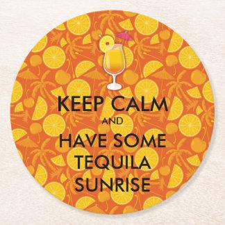 Porta-copo De Papel Redondo Mantenha a calma - nascer do sol do Tequila