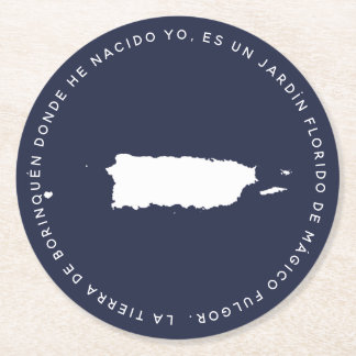 Porta-copo De Papel Redondo Mapa de Puerto Rico Borinquena