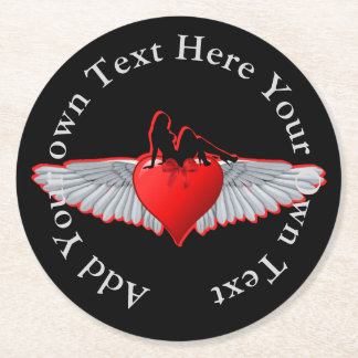 Porta-copo De Papel Redondo Menina do Pinup no tatuagem do coração e da asa