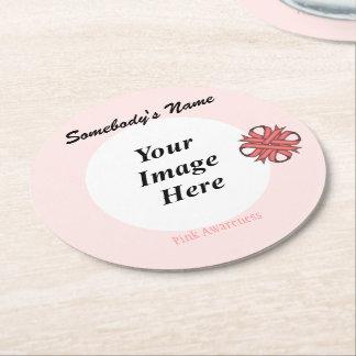 Porta-copo De Papel Redondo Modelo cor-de-rosa da fita do trevo