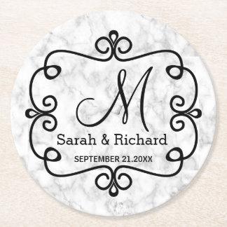 Porta-copo De Papel Redondo Monograma de mármore elegante do casamento