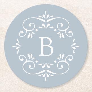 Porta-copo De Papel Redondo Monograma elegante francês do azul e o branco