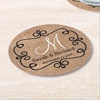 Porta-copo De Papel Redondo Monograma rústico do casamento de serapilheira