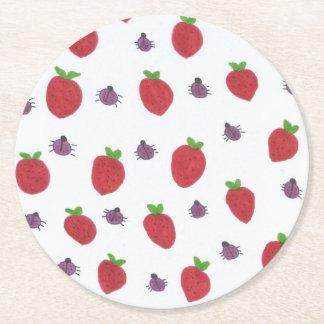 Porta-copo De Papel Redondo Morangos e senhora Insetos Frutado Teste padrão