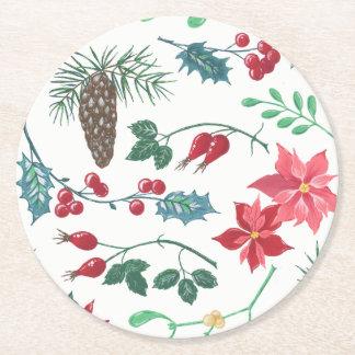 Porta-copo De Papel Redondo Natal botânico tradicional (branco)