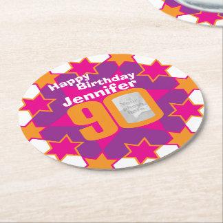 Porta-copo De Papel Redondo Nome do feliz aniversario 90 e portas copos de