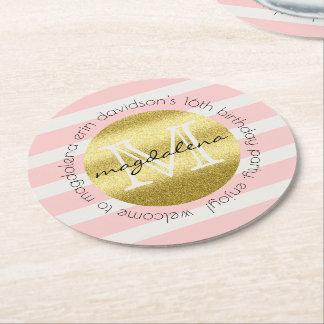Porta-copo De Papel Redondo O brilho na moda do ouro do monograma cora listras