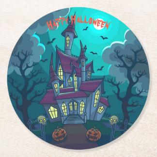 Porta-copo De Papel Redondo O Dia das Bruxas assombrou a casa