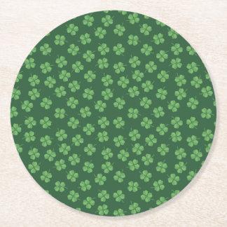 Porta-copo De Papel Redondo O irlandês celta verde quatro folheou trevos St