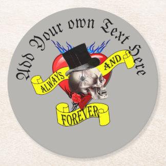 Porta-copo De Papel Redondo O tatuagem gótico prepara o crânio e o coração