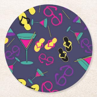 Porta-copo De Papel Redondo Óculos de sol, cocktail e portas copos Beachy das