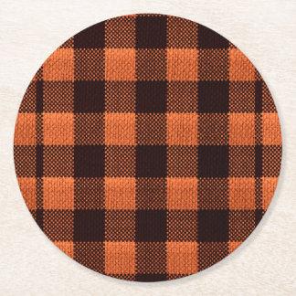 Porta-copo De Papel Redondo Olhar Checkered de serapilheira do teste padrão do