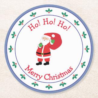 Porta-copo De Papel Redondo Ondulação do papai noel do Feliz Natal