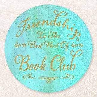 Porta-copo De Papel Redondo Ouro do falso e clube de leitura elegantes da