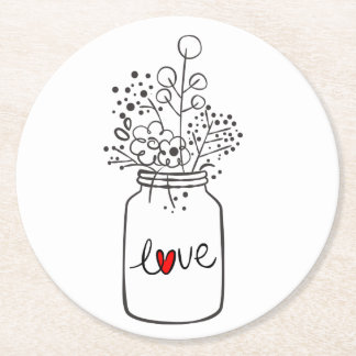 Porta-copo De Papel Redondo País rústico do amor do frasco de pedreiro que