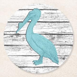 Porta-copo De Papel Redondo Pelicano seu passeio à beira mar da cor