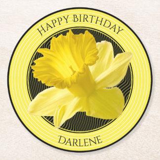 Porta-copo De Papel Redondo Personalize:  Daffodil floral do amarelo da