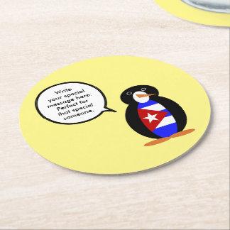 Porta-copo De Papel Redondo Pinguim cubano de fala da bandeira
