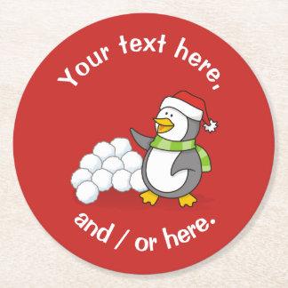 Porta-copo De Papel Redondo Pinguim do Natal com ondulação das bolas da neve