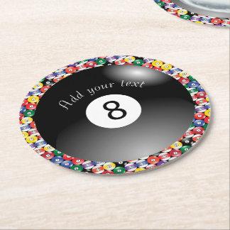 Porta-copo De Papel Redondo Piscina número contínuo oito do bilhar das bolas