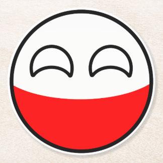 Porta-copo De Papel Redondo Polônia Geeky de tensão engraçado Countryball
