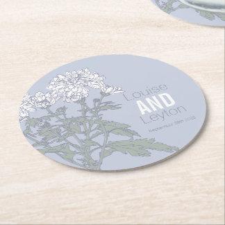 Porta-copo De Papel Redondo Portas copos de papel cinzentas da arte da flor