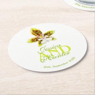 Porta-copo De Papel Redondo Portas copos verdes Wedding do costume da orquídea