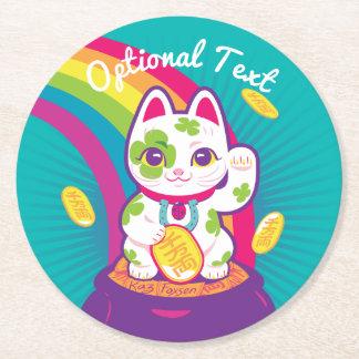 Porta-copo De Papel Redondo Pote de boa sorte de Maneki Neko do gato de ouro