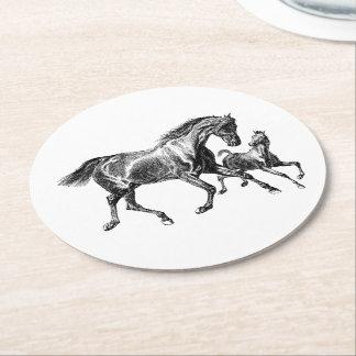 Porta-copo De Papel Redondo Potro do bebê da mãe dos cavalos do vintage