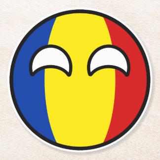 Porta-copo De Papel Redondo Romania Geeky de tensão engraçado Countryball