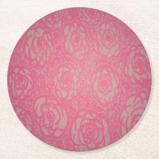 Porta-copo De Papel Redondo Rosas cor-de-rosa