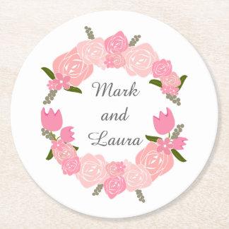 Porta-copo De Papel Redondo Rosas cor-de-rosa, tulipas, favores do casamento