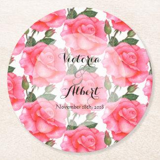 Porta-copo De Papel Redondo Rosas feitos sob encomenda do rosa da aguarela que