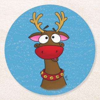 Porta-copo De Papel Redondo Rudolph, portas copos de papel com fundo azul