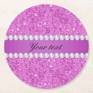 Porta-copo De Papel Redondo Sequins roxos chiques e diamantes do falso