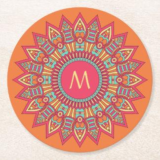 Porta-copo De Papel Redondo Seu monograma em portas copos de um papel do