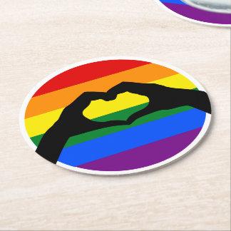 Porta-copo De Papel Redondo Silhueta do arco-íris do orgulho gay de LGBT e da