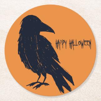 Porta-copo De Papel Redondo Silhueta preta do corvo do Dia das Bruxas