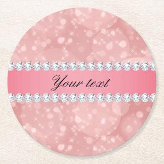 Porta-copo De Papel Redondo Sparkles cor-de-rosa e diamantes de Bokeh